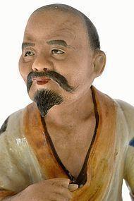 Chinese Famille Rose Fisherman Figure Figurine