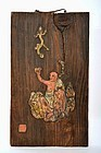 Old Japanese Sumida Gawa Daruma Wood Plaque