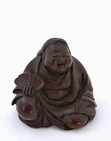 Old Japanese Bamboo Carved Netsuke Okname Sg