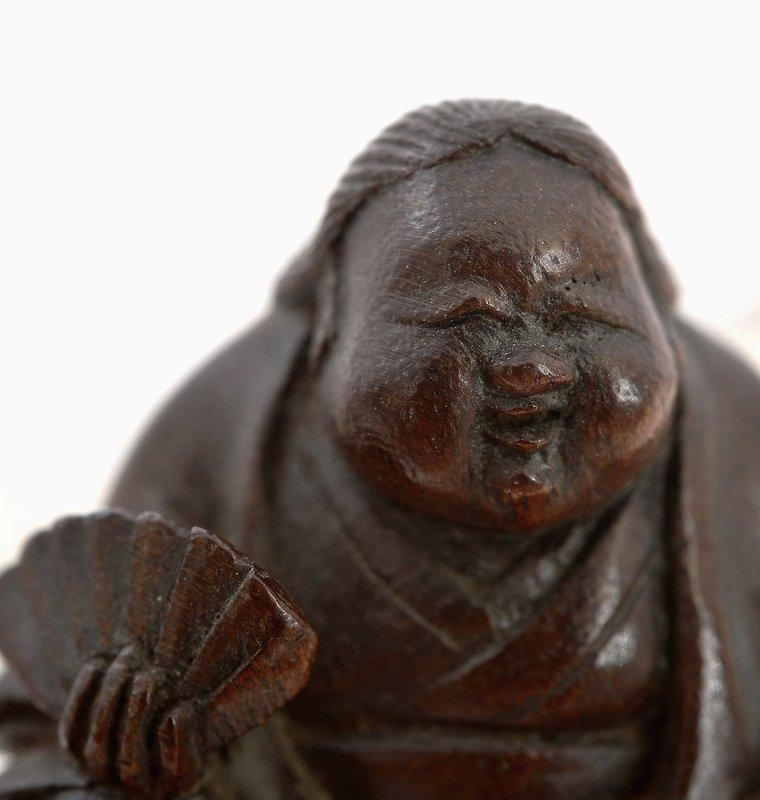 Old Japanese Bamboo Carved Netsuke Okname Sg