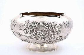 Lg Old Chinese Silver Bowl Chrysanthemum Mk