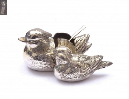 Old Japanese Gilt Silver Salt Mandarin Duck Mk