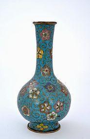 18C/19C Chinese Gilt Cloisonne Flower Vase