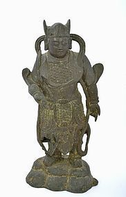 17C Chinese Gilt Lacquer Bronze Buddha Guardian