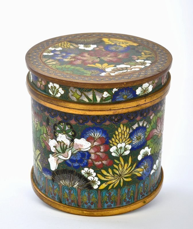 Early 20C Chinese Cloisonne Flower Box Lao Tian Li