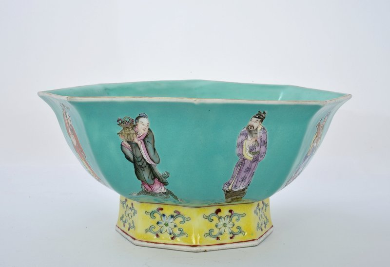 Early 20C Chinese Turquoise Famille Rose Bowl Mk