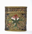 19C Chinese Gilt Cloisonne Opium Box with Peach