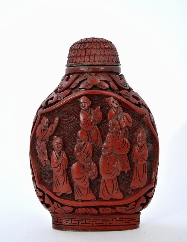 Late 19C Chinese Lacquer Cinnabar Snuff Bottle Mk