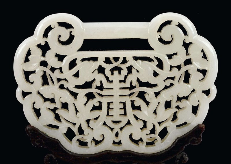 19C Chinese White Jade Lock Pendant Plaque Wood Stand