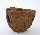 19C Chinese Bamboo Carving Carved Libation Cup Plum