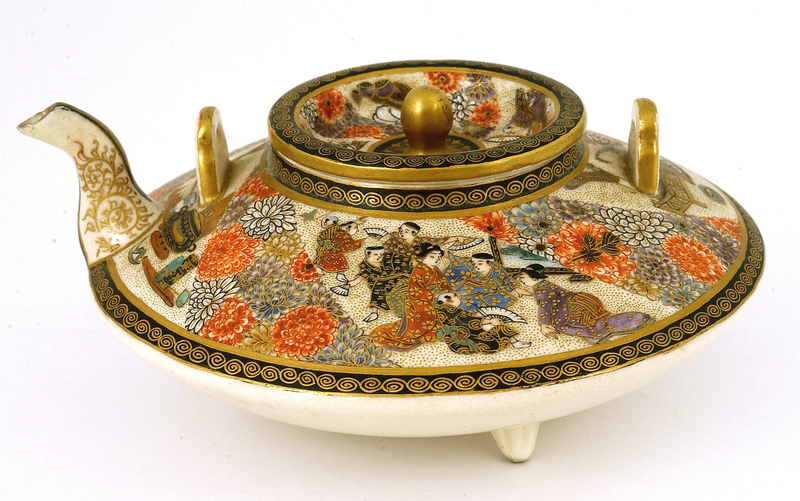 Old Japanese Satsuma Teapot Marked Figurine