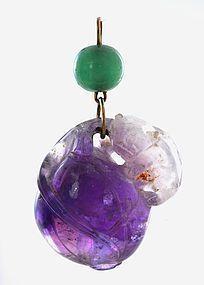 Chinese Amethyst Crystal Beast & Peach Pendant