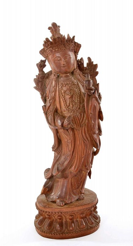 19C Chinese Sandalwood Wood Carved Guan Kwan Yin Buddha