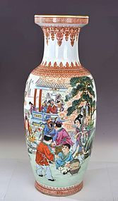 Lg Chinese Famille Rose Porcelain 8 Immortal God Vase