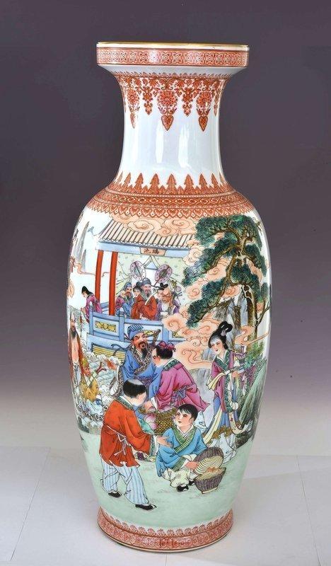 Lg Chinese Famille Rose Porcelain 8 Immortal God Vase