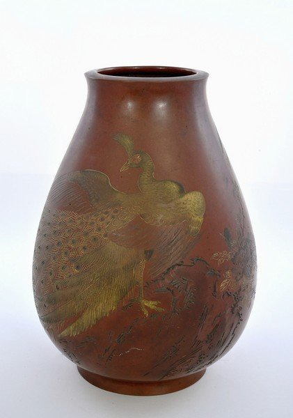 Japanese Mixed Metal Bronze Vase Peacock Bird Sg