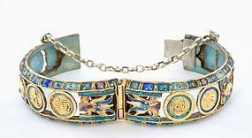 Chinese Silver 22K Gilt Enamel Bangle Dragon Chirography