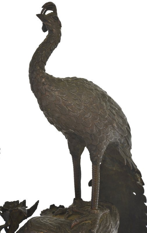 Meiji Japanese Bronze Peacock Peahen Bird Group Okimono
