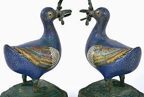 2 19C Chinese Cloisonne Duck Shaped Candle Holder