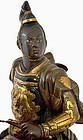 Old Japanese Parcel Gilt Bronze Samurai Warrior Horse