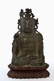 16C Chinese Ming Bronze Seated Kwan Quan Yin Buddha
