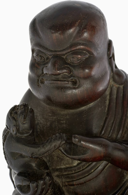 Chinese Zitan Wood Carved Louhan Buddha Monk & lion Figure