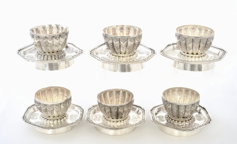6 Chinese Sterling Silver Tea Wine Cup & Saucer Set Marked