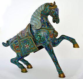 Large Chinese Gilt Cloisonne War Horse
