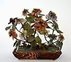 Chinese Hardstone Jade Coral Turquoise Tree Planter