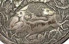 Persian Sterling Silver Repousse Round Box Lion Deer