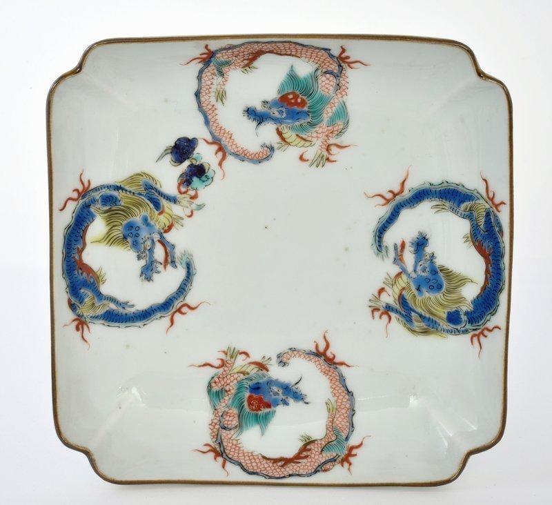 4 19C Japanese Imari Kakiemon Style Dish Dragon