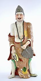 Large Chinese Famille Rose Porcelain Louhan Buddha Figure