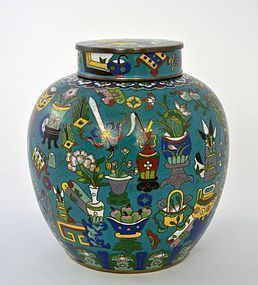Chinese Cloisonne Enamel Covered Jar Tea Caddy
