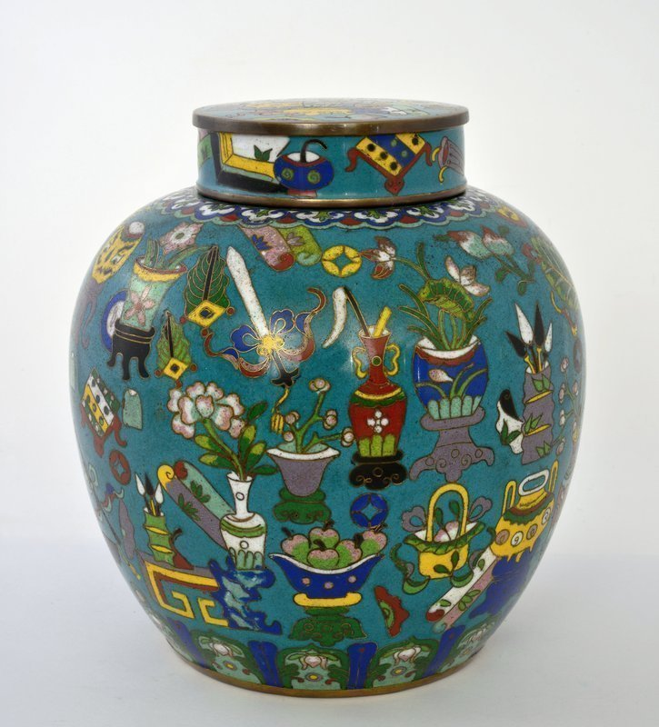 1930's Chinese Cloisonne Enamel Covered Jar Tea Caddy