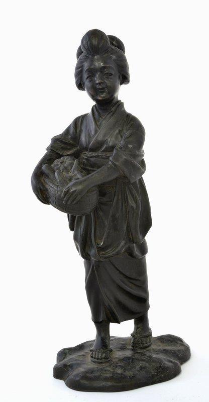 Japanese Bronze Geisha Girl Okimono Figurine