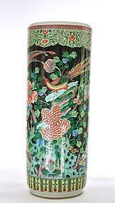 Chinese Famille Verte Black Glaze Porcelain Umbrella Stand Bird