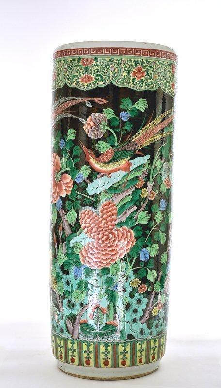 Chinese Famille Verte Black Glaze Porcelain Umbrella Stand Bird