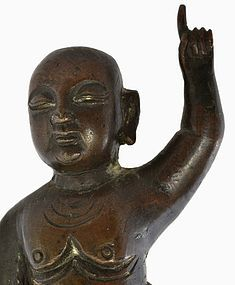 16C Chinese Bronze Buddha Kid Lotus Figurine