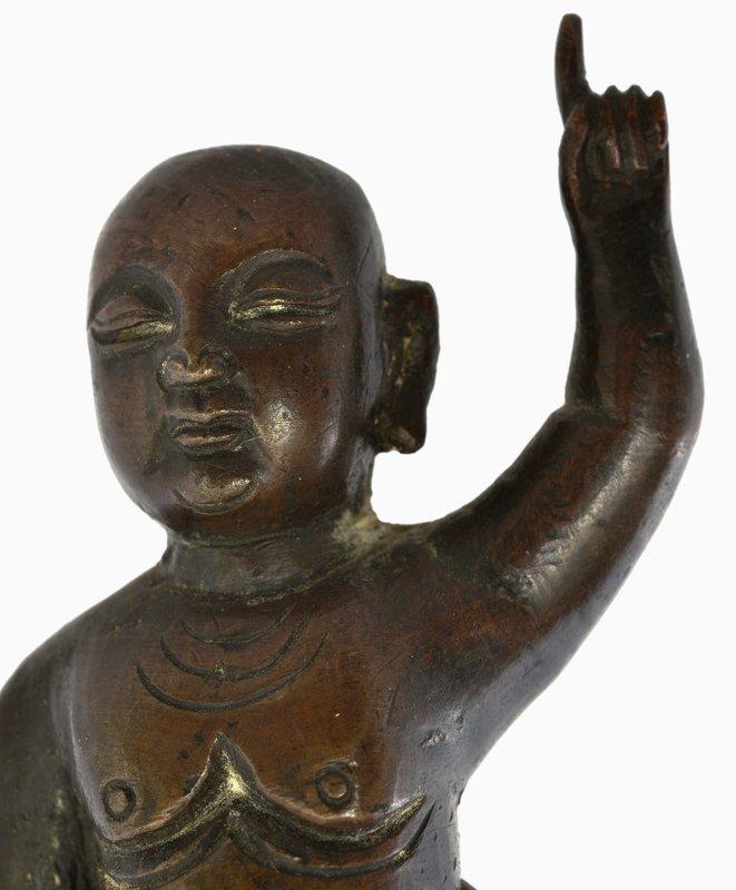 16C Chinese Bronze Buddha Kid Lotus Figurine