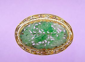 14K Gold Chinese Jadeite Carved Pearl bead Pin Brooch