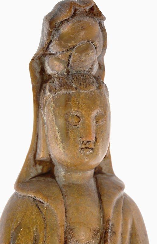 19C Chinese Soapstone Carved Quan Kwan Yin Buddha