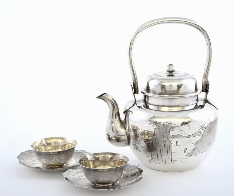 Old Japanese Sterling Silver Tea Teapot Cup Set Mk