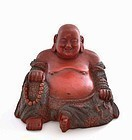 19C Chinese Cinnabar Lacquer Carved Happy Buddha