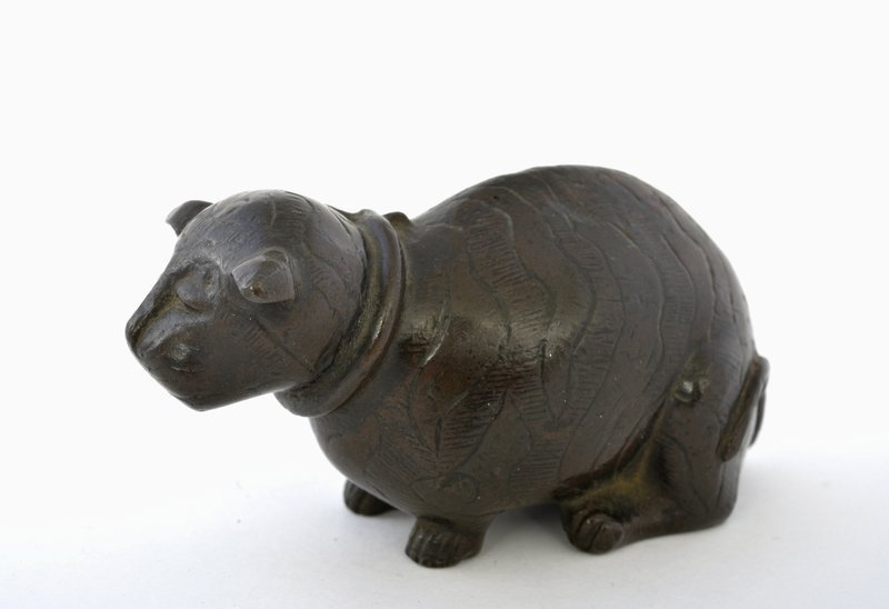 19C Japanese Bronze Cat Shaped Scholar Water Dropper
