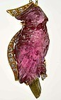 18K 2 Tone Tourmaline Carved Parrot Bird Pendant Necklace