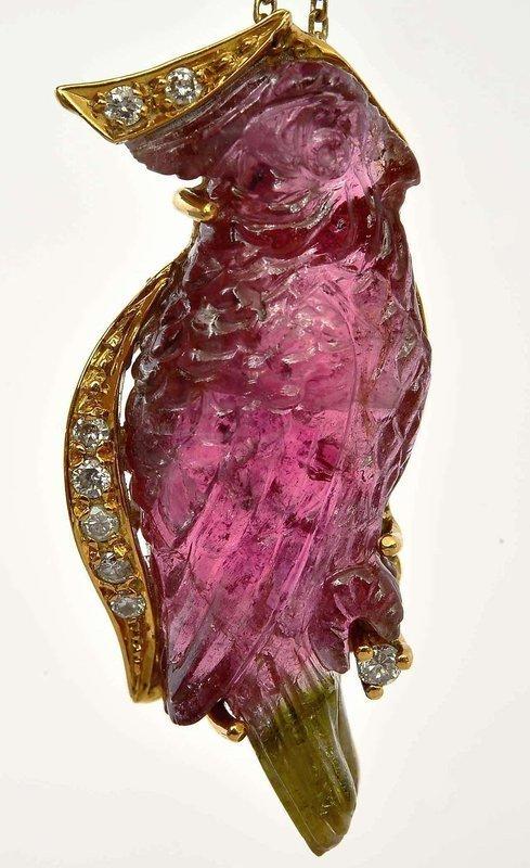 18K 2 Tone Tourmaline Carved Parrot Bird Pendant Necklace