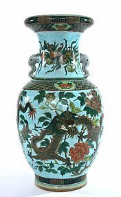 Early 20C  Chinese Famille Rose Verte Porcelain Dragon Vase