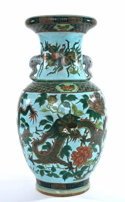 Early 20C  Chinese Famille Rose Verte Porcelain Dragon Vase