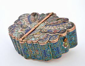 Early 19C Chinese Cloisonne Bronze Butterfly Moth Scholar Box