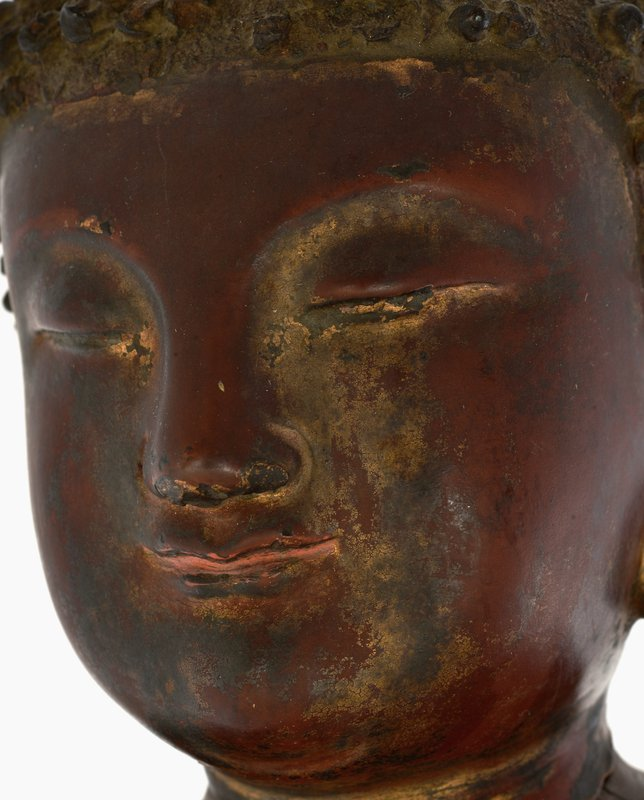16C Chinese Wood Carved Buddha Head